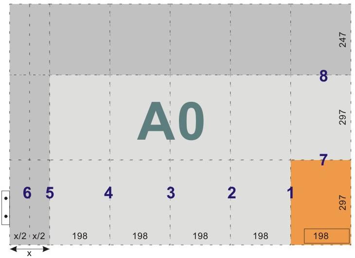 schemat składania rysunków do wpinania z listwą - format A0