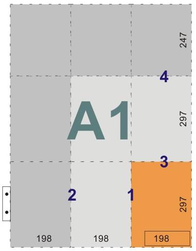 schemat składania rysunków do wpinania z listwą - format A1