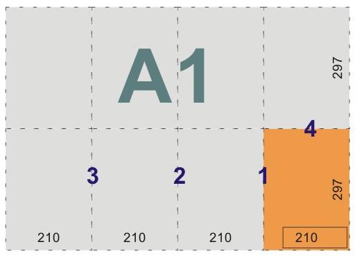 schemat składania rysunków do teczek i kopert - format A1