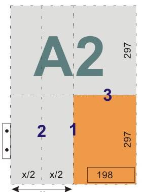 schemat składania rysunków do wpinania z listwą - format A2