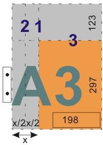 schemat składania rysunków do wpinania z listwą - format A3
